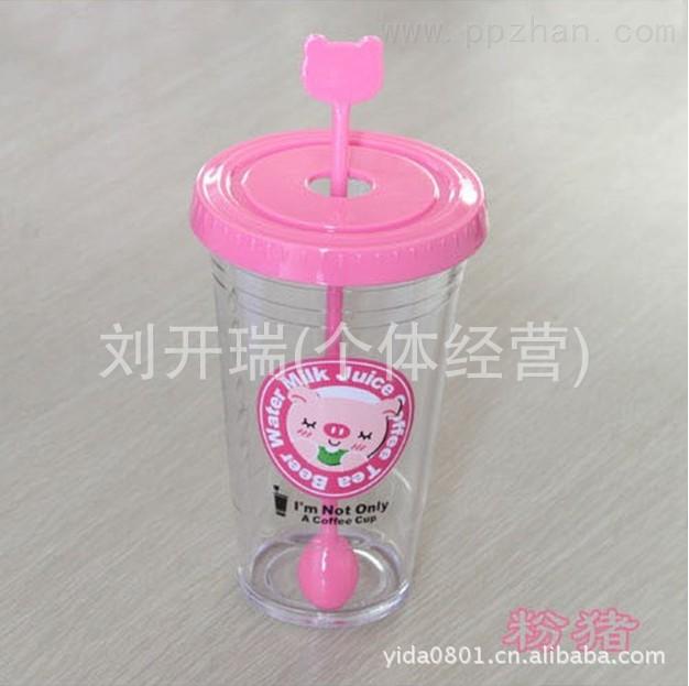 透明小号卡通动物水杯 塑料杯 可爱动物杯子搅拌勺 广告促销6501